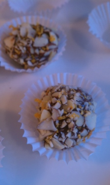 Easy Truffles with Orange Zest and Crushed Almonds