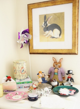 Little indoor garden has bunnies, a pinwheel & tiny tea set!