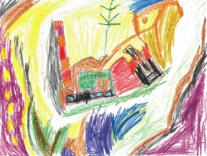 A landscape by the Spy at age 5, reminds me of Cezanne