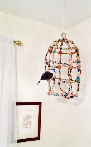 Fabric and Wire birdcage made by www.crissypenuel.com. Bird is a Christmas ornament.