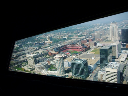 View of Busch Stadium from the top of the Arch