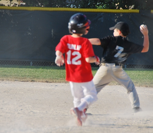 The spy making a play at first base