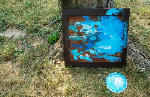 Old cabinet face and chipped dinner plate aka canvas and palette
