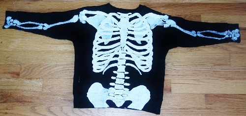 This is an anatomically correct skeleton I painted on a sweatshirt.