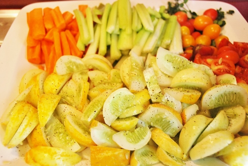 I did make a vegetable platter including my lemon cucumbers for the potluck!