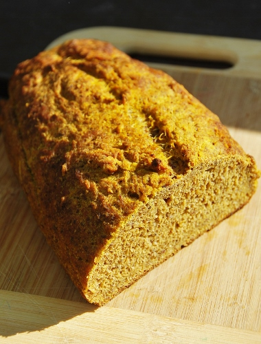 Basically tastes like bread, but has amped up fiber/nutrients from pumpkin!