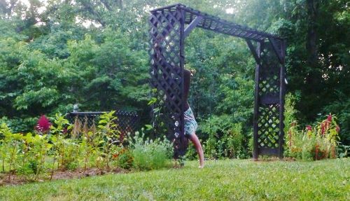 "Me doing ""whatever I felt like"" in the garden 2012 (I don't know if a handstand is an ""official"" pose"