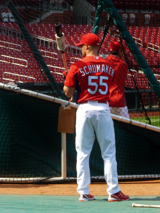 Skip Schumaker at batting practice (2011). I wonder how he felt last night playing for LA?