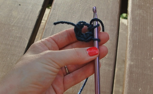 Again, bring the yarn through the two loops on the hook.
