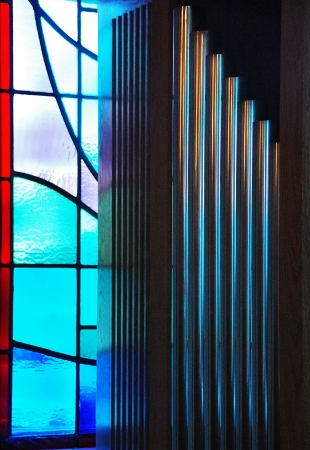 Stained glass and part of organ.