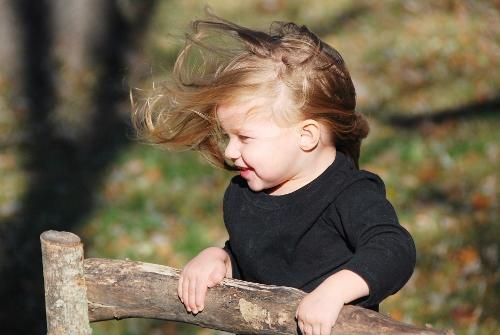 Hair blowing.
