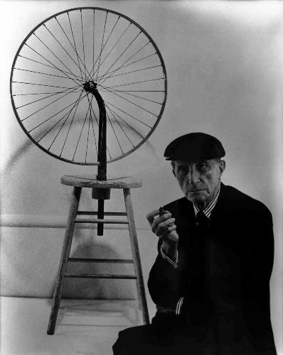 Duchamp with Bicycle Wheel 1913
