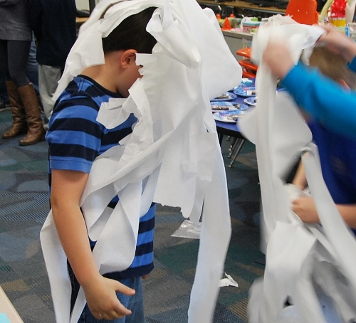 The Spy at his classroom's holiday party today (making TP snowmen)