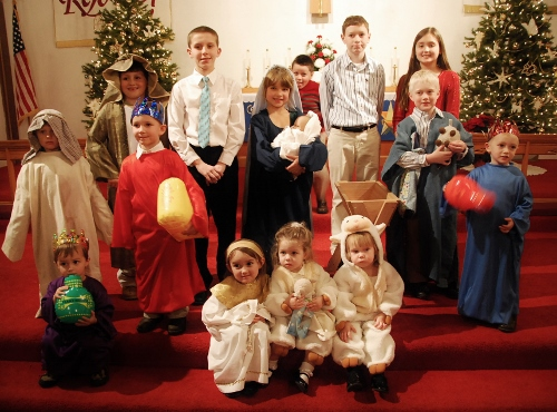 After the Christmas Eve Service. The kids all did a great job!