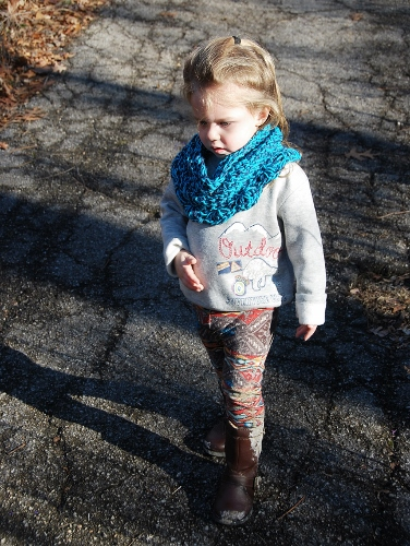 """Baby with Snood #2. She said """"It's kind of like a necklace."""" I say, """"It's kind of like a scarf."""" So a Narf? Or a Scecklace?"""