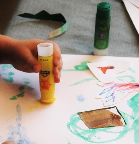 Baby appreciated the colored glue sticks