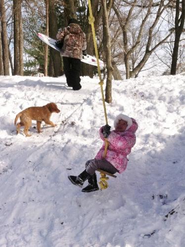 Swinging, sledding and shredding