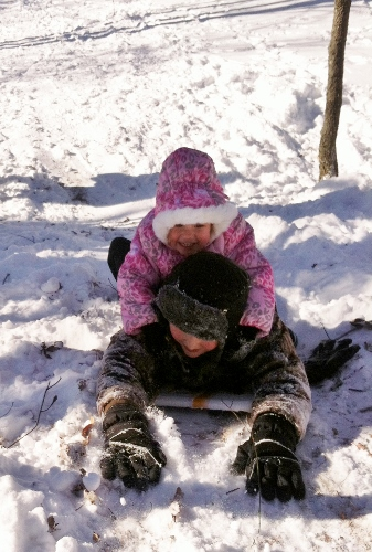 Sledding backward
