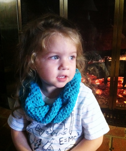 Baby showing off her new twisty snood