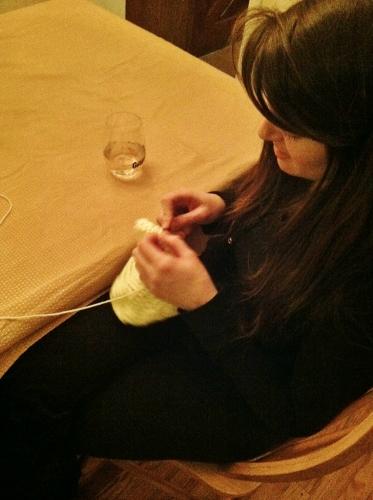 Spy Sister (Aunt Spy) crocheting a hat