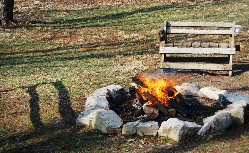 A sure sign of spring, no one huddled next to the warm fire!