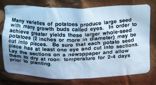 Seed Potato Instructions