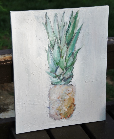 This is a painting of a pineapple I did a few years ago, it is one of my favorites. It hangs in our dining room.