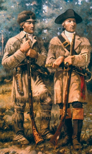 "Detail of ""Lewis & Clark at Three Forks"" by Edgar Samuel Paxson, mural in lobby of Montana House of Representatives (source)"