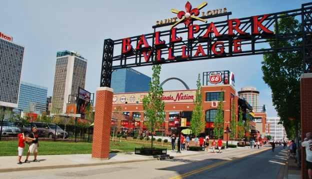 Walking up to Ballpark Village