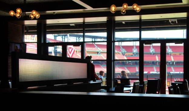 You can see the stadium from most every angle of Ballpark Village!