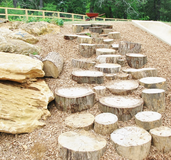 The path to Squirrely Garden: Much more fun than stairs!