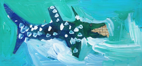 Spotted Shark, by the Spy (acrylic on wood)