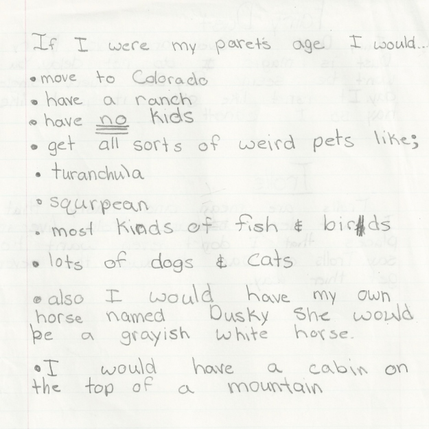 I wrote this in third grade (the Spy starts third grade on Monday!)