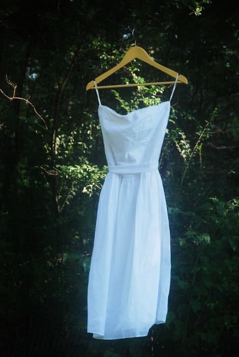 Wedding Dress Floating in Mid-Air (hanging on the deer fence ;)