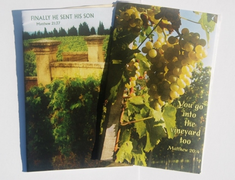 The covers of recent bulletins from our church depicting vineyards