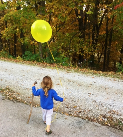 Walking stick and balloon
