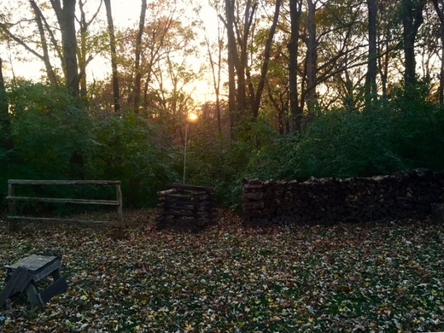 Sunset with woodpile in the backyard