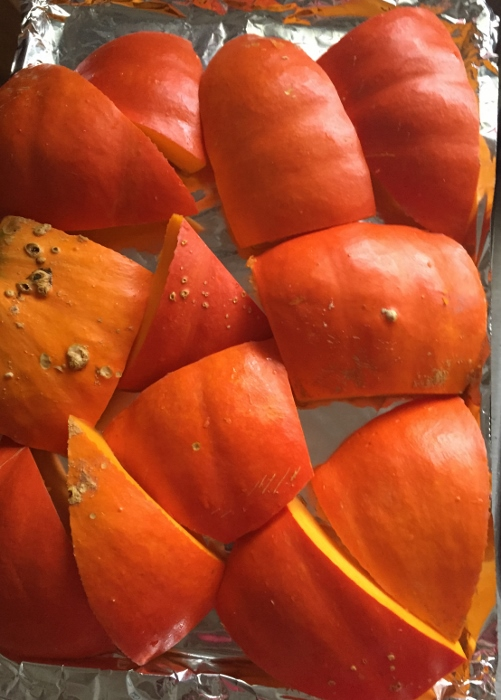 Roasting another Rouge Vif d'Etampes pumpkin with the skin on (which makes it more moist)