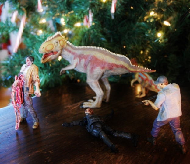 Nothing says Christmas like zombies...and T-Rex. Hahah (and there's Shane!!)