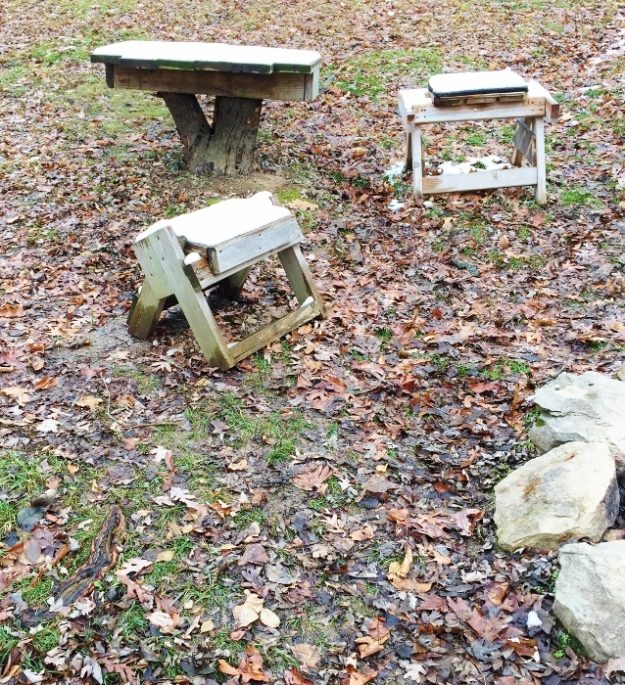 Tree table and two chairs