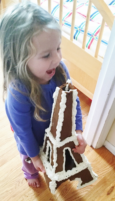 Babyzilla with the Gingerbread Eiffel Tower