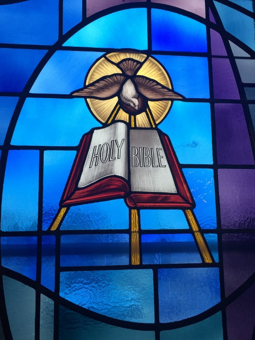 One of the stained-glass windows at our church