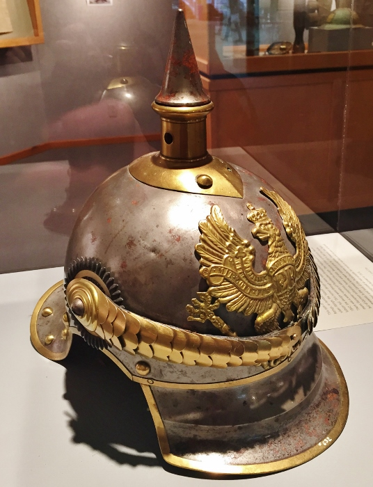 Very cool WWI helmet on display at the library; I think it is Prussian
