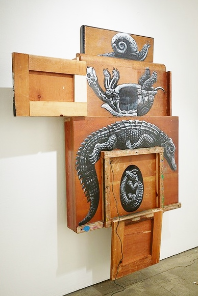 Roa, Composition III: Alligatoridae, Testudinidae, Gastropoda (DETAIL) (source of image: Jonathan Levine Gallery)