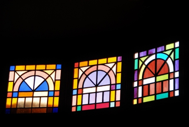 Stained glass in the Clydesdale stables