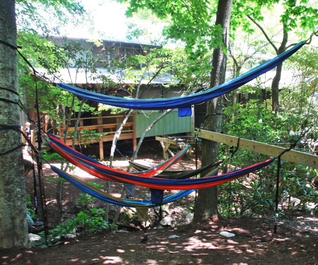 Outside the cabin (these hammocks must be all the rage! We saw them all over the place!)