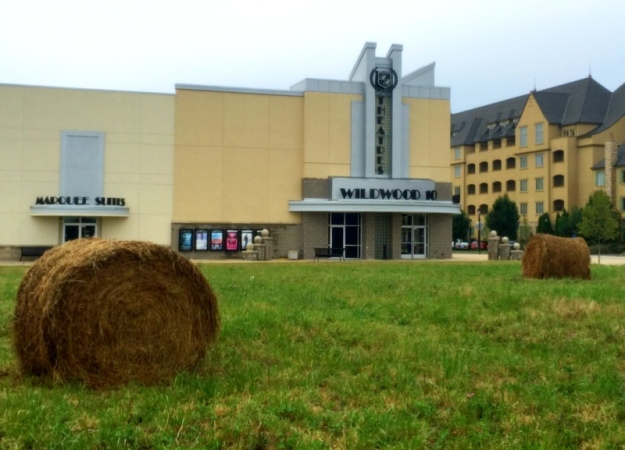 Haybales and movie theater