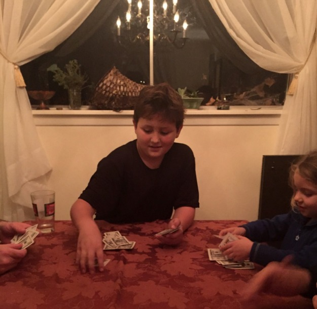 Playing cards after thanksgiving dinner