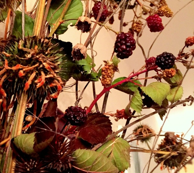 Fall arrangement; lion's tail and blackberry branches from the garden