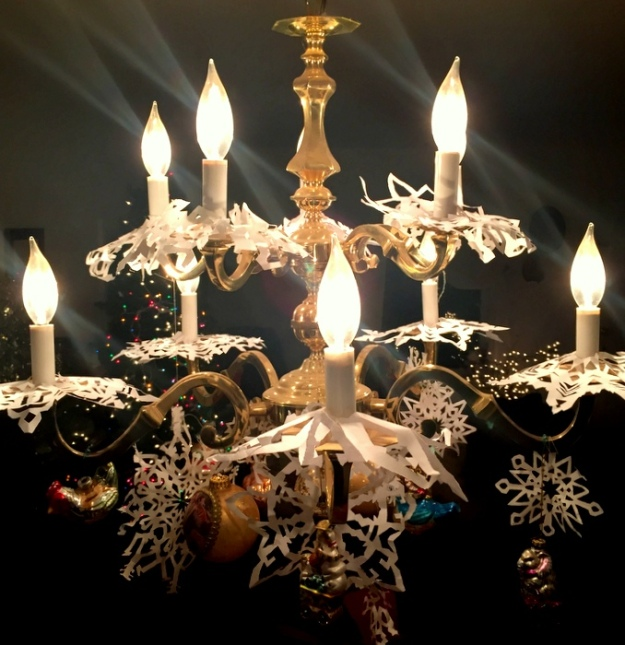 Dining room snowflake chandelier